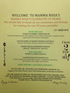 Mamma Rosa April 2014 Features Menu