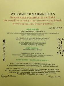 Mamma Rosa April 2014 Features Menu