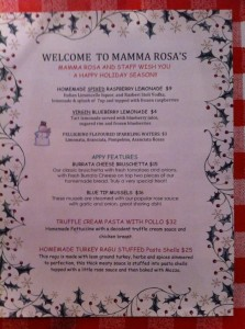 Mamma Rosa December Features Menu
