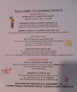 Mamma Rosa Features Menu June