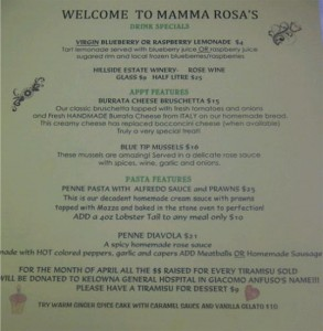 Mamma Rosa April Features Menu