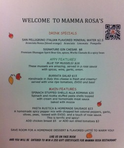 Mamma Rosa's Feature Menu October