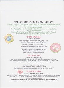 Mamma Rosa Features Menu